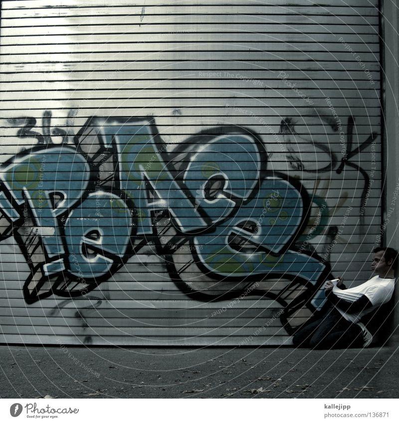 die katze aus dem sack lassen Mensch Mann Farbe Wand sprechen Graffiti Mauer Tod Glück Lifestyle Freiheit Zusammensein Angst frei gefährlich Kultur