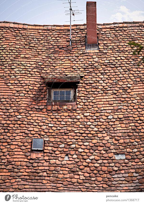 das ding lebt! Himmel Altstadt Haus Burg oder Schloss Gebäude Architektur Fenster Dach Schornstein Sehenswürdigkeit Zeichen historisch einzigartig