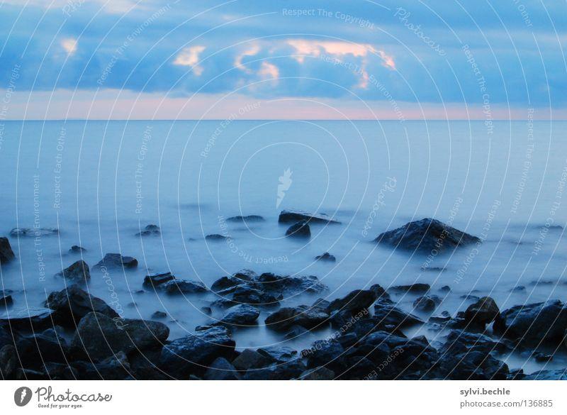 silence Wasser Himmel Sonne Meer blau Strand ruhig schwarz Wolken Erholung Bewegung Stein Stimmung Küste Nebel Felsen
