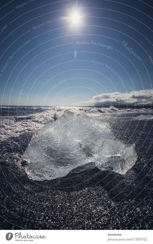 Eisberg in der Sonne Himmel Natur Ferien & Urlaub & Reisen blau Wasser Meer Landschaft Ferne Strand kalt Umwelt Wärme Küste Freiheit Horizont