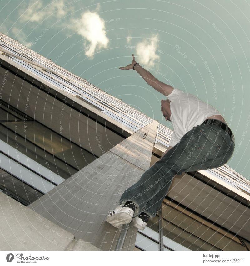 nimms Mann Silhouette Dieb Krimineller Ausbruch Flucht umfallen Fenster Parkhaus Geometrie Gegenlicht Jacke Mantel Mütze Strahlung Thriller springen hüpfen