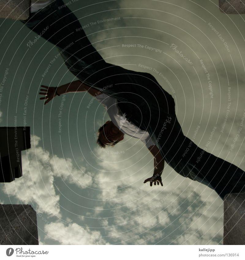 schrittweise Mann Silhouette Dieb Krimineller Ausbruch Flucht umfallen Fenster Parkhaus Licht Geometrie Gegenlicht Jacke Mantel Mütze Strahlung Thriller