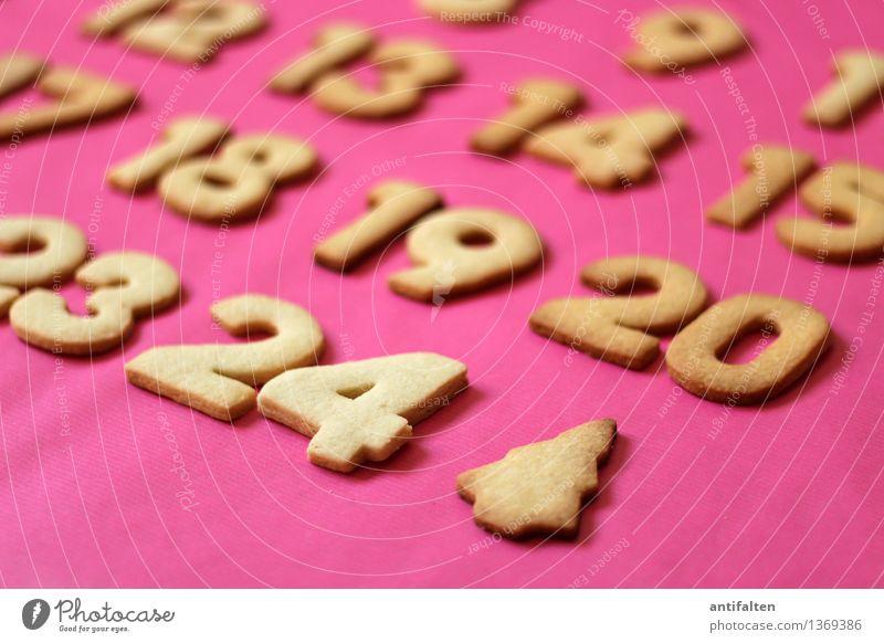 Finale Weihnachten & Advent Essen Lebensmittel rosa Schlagwort Freizeit & Hobby Ernährung Kochen & Garen & Backen süß Zeichen Ziffern & Zahlen Kalender Weihnachtsbaum Vorfreude Jahr Backwaren