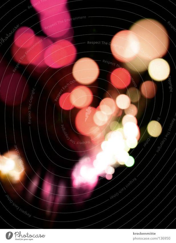 think pink Licht abstrakt Kreis Nacht rosa rot Ausgang Nachtleben Unschärfe gelb Farbe Lampe Punkt night