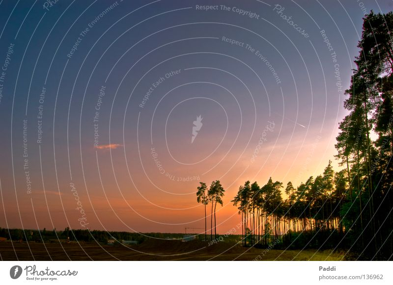 Sandgrube als HDR Natur schön Himmel Baum Sonne blau rot Ferien & Urlaub & Reisen ruhig schwarz Wolken gelb Landschaft Beleuchtung orange groß