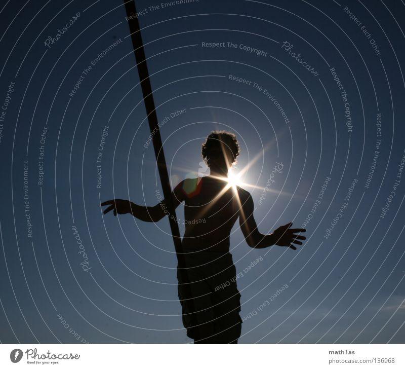 Slacklinen IIII Sonne Meer blau Strand schwarz Zufriedenheit Konzentration Gleichgewicht