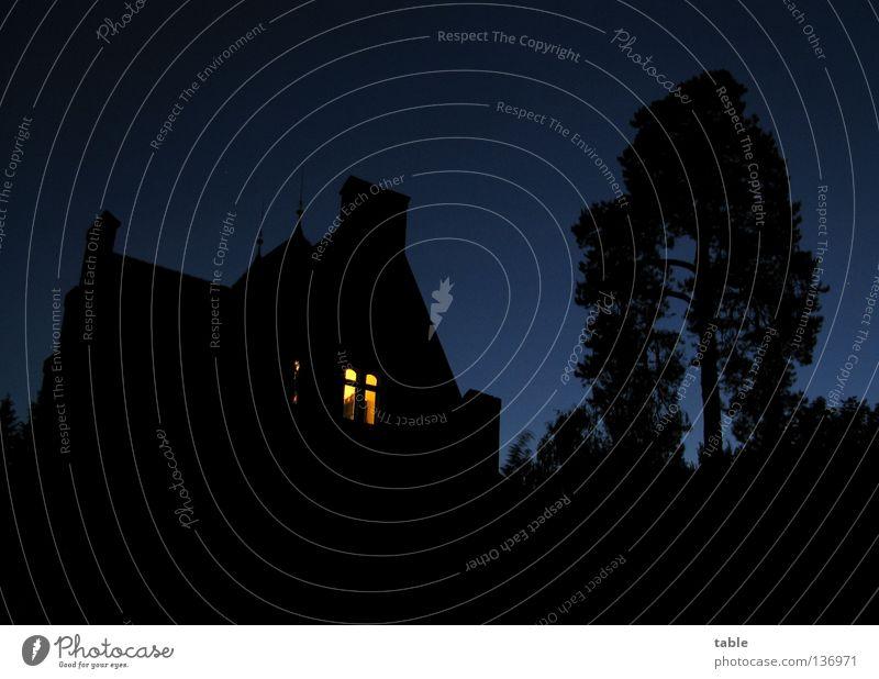Hoffnung Wunsch dunkel Licht Trauer Haus Baum Nacht Nachthimmel Sonnenuntergang Dämmerung spät Silhouette Fenster erleuchten Verzweiflung Vertrauen