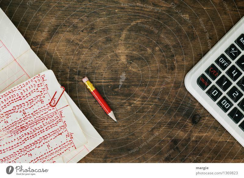 Rote Zahlen II rot Holz Linie Business Arbeit & Erwerbstätigkeit Büro Erfolg Schriftzeichen Technik & Technologie lernen retro Papier Zeichen Ziffern & Zahlen