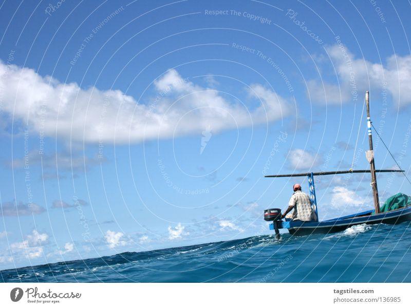 DHONI Mann Wasser Meer Sommer Strand Ferien & Urlaub & Reisen träumen Wasserfahrzeug Industrie fahren Asien Indien Malediven