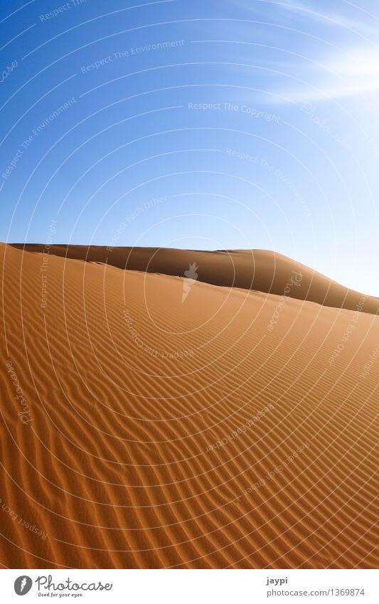 Wellengang Umwelt Natur Landschaft Sand Himmel Wolkenloser Himmel Sonnenlicht Dürre Wüste Namib Düne einfach gigantisch groß Unendlichkeit trocken blau orange