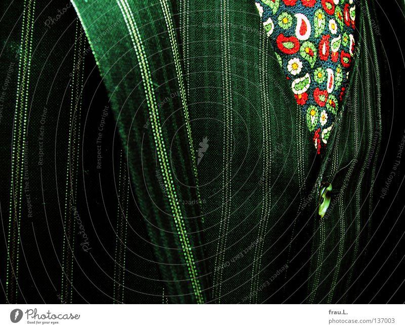 Paisley Krawatte Anzug Muster mehrfarbig gestreift Knöpfe Herrenmode schick gewagt Weste Jacke Streifen Stoff Schneider verrückt dezent typisch Spießer Mann