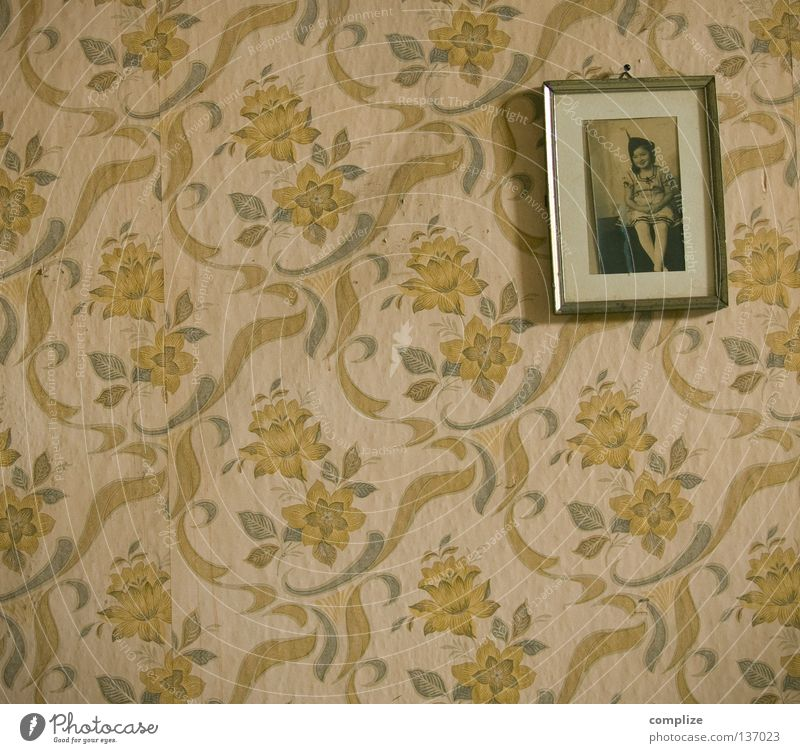 An der Wand Design Wohnung Haus Innenarchitektur Dekoration & Verzierung Möbel Tapete Raum Blume Wege & Pfade Puppe Souvenir alt kaputt retro Mut Einsamkeit