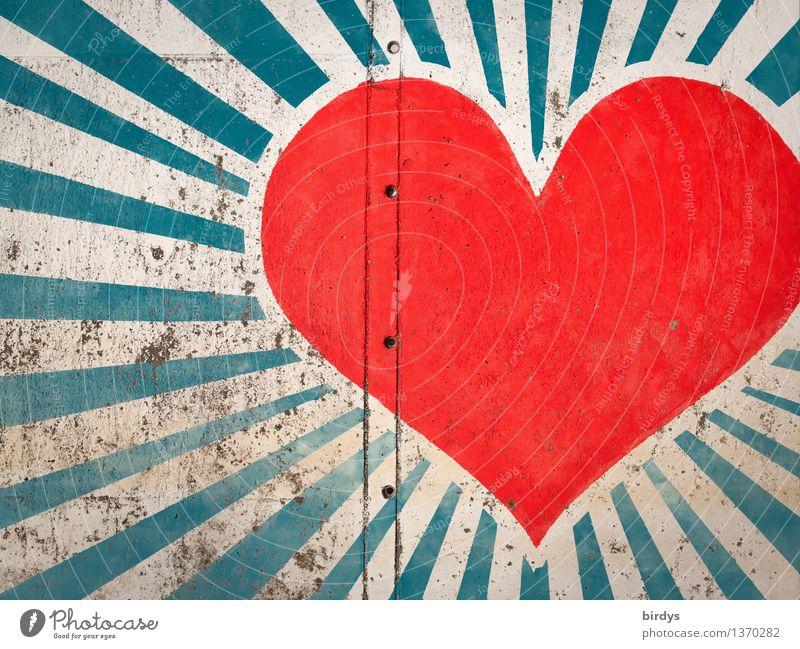 Glanz im glanzlosen Raum blau weiß rot Wand Leben Liebe Graffiti Gefühle Mauer Glück Freundschaft leuchten ästhetisch Fröhlichkeit Kreativität Herz