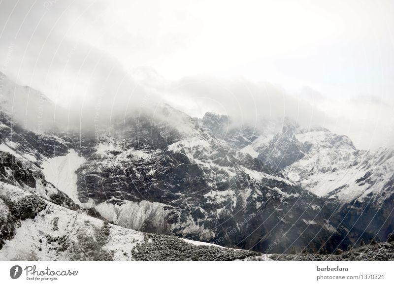 kalt   auf der Kanzelwand Himmel Natur Landschaft Wolken Ferne kalt Berge u. Gebirge Schnee Freiheit Stimmung hell Felsen Horizont Luft Nebel Erde