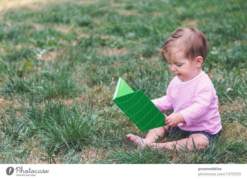 Kleines Baby, das ein Buch mit Bildern überwacht Mensch Kind schön Freude Mädchen Gras Glück klein Lifestyle Kindheit sitzen beobachten niedlich Kleinkind