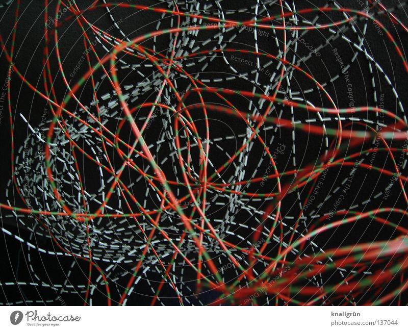 Plastic-encased Draht gekrümmt schwarz mehrfarbig gestreift durcheinander rot grün weiß dunkel Elektrisches Gerät Technik & Technologie obskur Ummantelt Statue