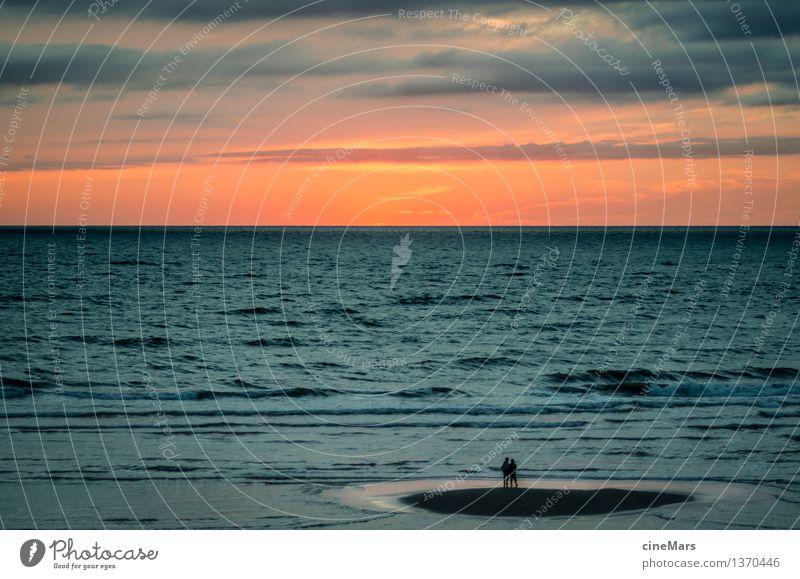 Umzingelt Ferien & Urlaub & Reisen Sommerurlaub Strand Meer Wellen Mensch 2 Sonnenaufgang Sonnenuntergang Schönes Wetter Nordsee beobachten fangen stehen warten