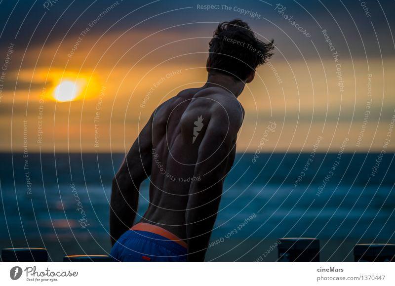 Die Aussicht als Motivation Mensch Ferien & Urlaub & Reisen Jugendliche Sommer Sonne Meer Junger Mann Strand 18-30 Jahre Erwachsene Sport Gesundheit maskulin Freizeit & Hobby Kraft Rücken