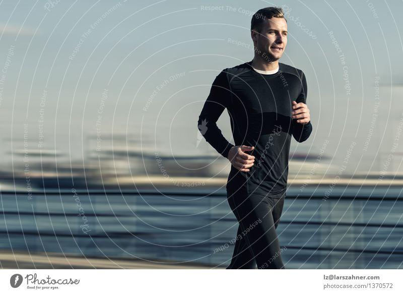 Mensch Jugendliche Mann 18-30 Jahre schwarz Erwachsene Sport Lifestyle maskulin Aktion Textfreiraum Geschwindigkeit Brücke Fitness Fluss Läufer