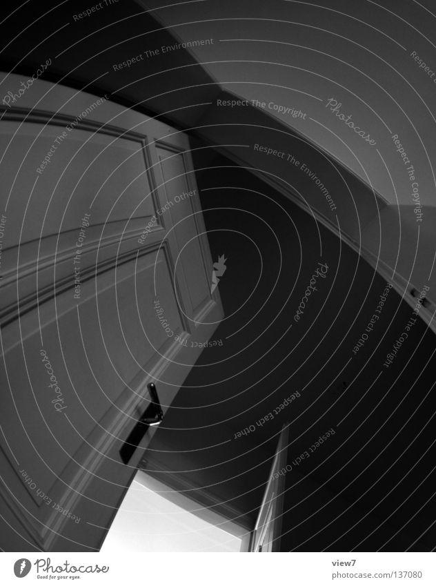 Flurgrafik weiß schwarz Wand grau Raum Wohnung Tür offen Bodenbelag Wohnzimmer Grafik u. Illustration Flur diagonal Griff Decke Verlauf