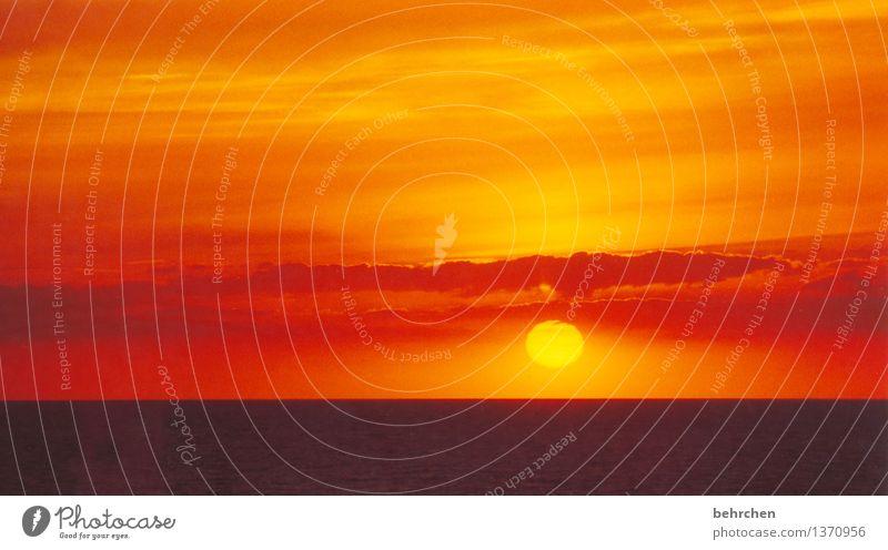 für frühaufsteher Himmel Ferien & Urlaub & Reisen schön Sommer Sonne Meer Wolken Ferne Strand Frühling Küste Freiheit orange träumen Tourismus Wellen