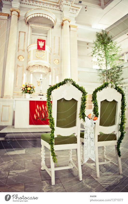 Es ist angerichtet! grün weiß Innenarchitektur Religion & Glaube Feste & Feiern Paar Zusammensein Dekoration & Verzierung paarweise Beginn Kirche Hoffnung