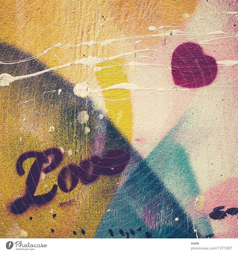 Jugendliebe Wand Liebe Graffiti Gefühle Stil Glück Lifestyle Fassade Design wild authentisch Schriftzeichen verrückt Kreativität Herz Lebensfreude