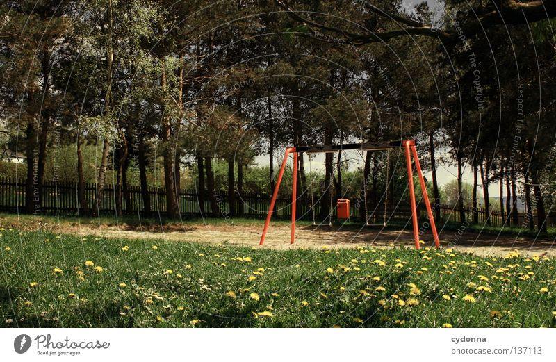 Kinderlos Natur alt Freude ruhig Wiese Spielen Freiheit Bewegung Frühling Traurigkeit Freizeit & Hobby schlafen Platz frei Kindheit leer