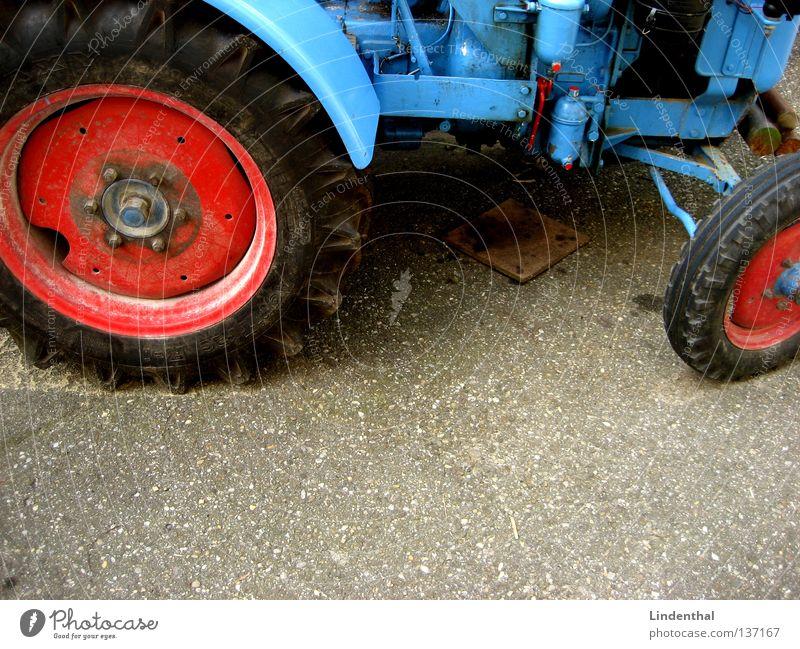 My old blue Tractor blau groß Verkehr Asphalt Landwirtschaft Maschine Teer Traktor