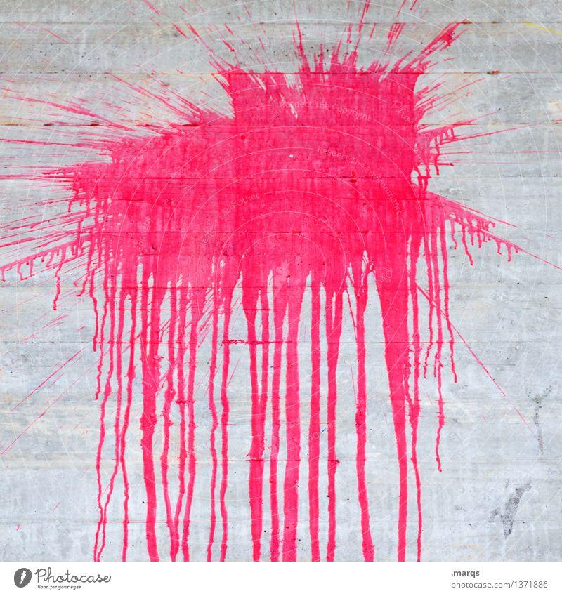 Splish Stil Design Mauer Wand Beton trashig blau rosa Farbe Farbstoff spritzen Fleck Schmiererei Farbfoto Nahaufnahme Muster Menschenleer Textfreiraum Mitte