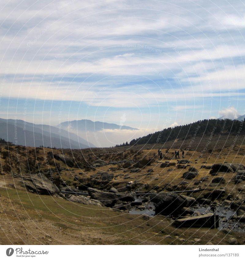 Andes Anden Berge Mensch Himmel Wolken Berge u. Gebirge Landschaft Nebel hoch Fluss Reinigen Hügel Tal Südamerika Venezuela Anden