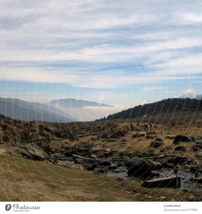 Andes Anden Berge Venezuela Hügel Reinigen Wolken Nebel Berge u. Gebirge andes Fluss Mensch Landschaft Tal Himmel hoch