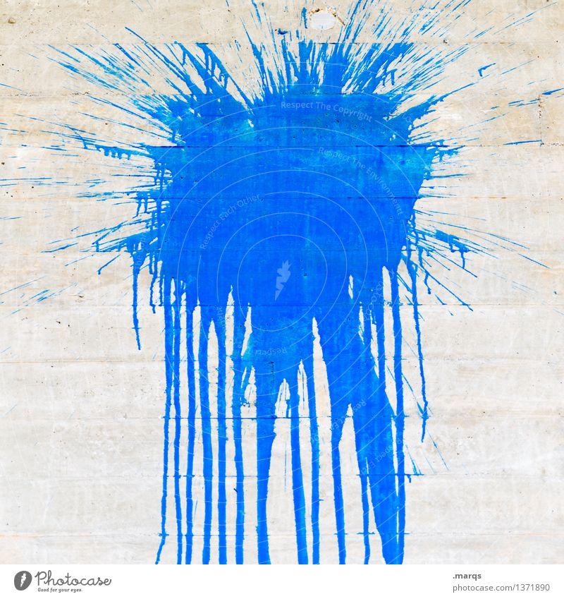 Splash blau Farbe Farbstoff Stil grau Design Beton Fleck trashig spritzen Schmiererei