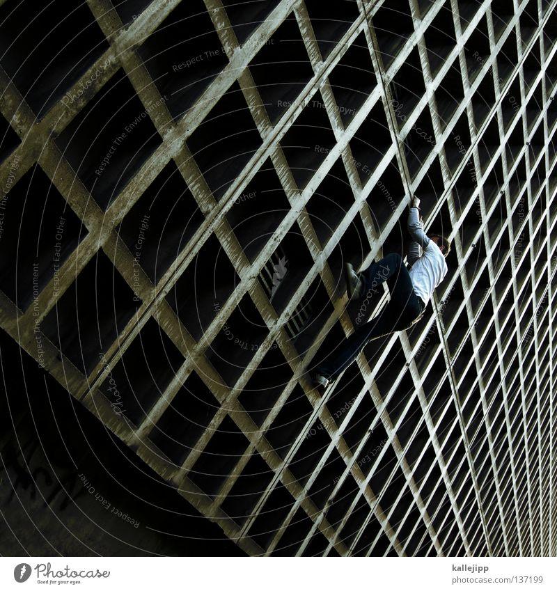 rasterfahndung Mann Silhouette Dieb Krimineller Ausbruch Flucht umfallen Fenster Parkhaus Geometrie Gegenlicht Jacke Mantel Mütze Strahlung Thriller springen
