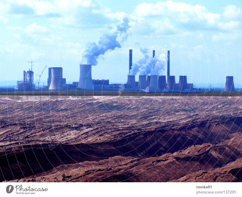 Malediven-Traumurlaub Natur Himmel blau Wolken Sand braun dreckig Deutschland Umwelt Industrie Energiewirtschaft Elektrizität bedrohlich Turm Klima Abgas