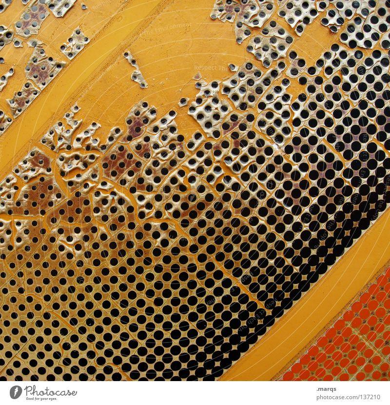 Sticky schwarz gelb Farbe Wand orange dreckig Hintergrundbild kaputt Dekoration & Verzierung Streifen Punkt Tapete verfallen obskur Etikett