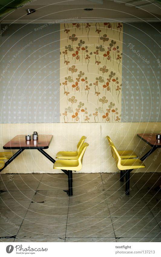 schnellrestaurant Imbiss Chinesisch China Tisch Wand fließen retro leer Platz Sitzgelegenheit lecker genießen Gastronomie Wohnzimmer Ernährung Stuhl Erholung