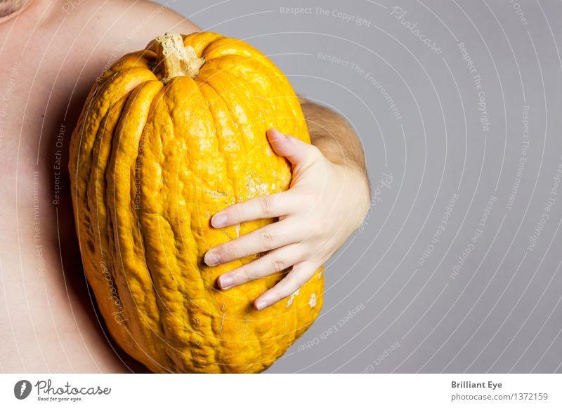 Stolzer Fang Mensch Natur Hand gelb Lifestyle hell maskulin Zufriedenheit groß festhalten Gemüse Ernte Tradition Umarmen Halloween