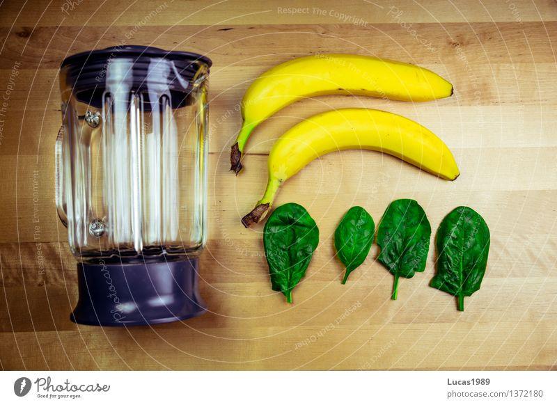 Spinat-Bananen-Smoothie (vorher) Lebensmittel Spinatblatt Ernährung Bioprodukte Vegetarische Ernährung Diät Fasten Slowfood Vegane Ernährung Getränk