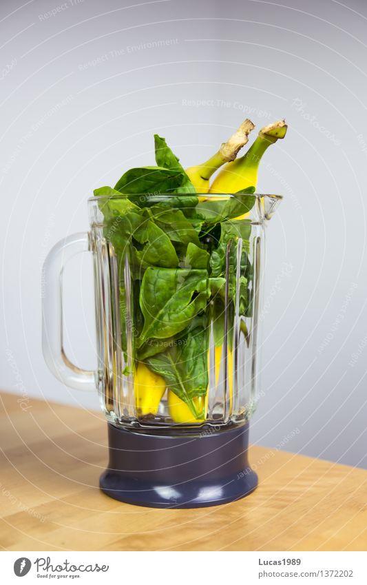 Spinat-Bananen-Smoothie (kurz vorher) Lebensmittel Spinatblatt Ernährung Essen Bioprodukte Vegetarische Ernährung Diät Fasten Slowfood Milchshake