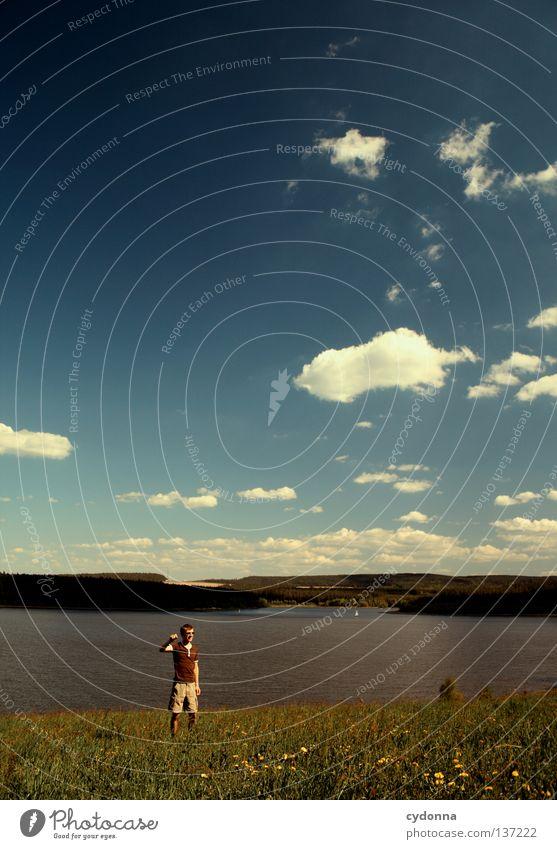 Ein Tag am See Mensch Himmel Natur Sommer Freude Wolken Ferne Erholung Wiese Leben Landschaft Spielen Graffiti Gefühle Freiheit Bewegung