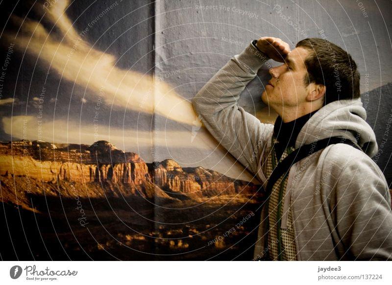 Ausblick Mensch Jugendliche Wand Freiheit Suche Aussicht Sehnsucht falsch Fernweh Plakat Wilder Westen