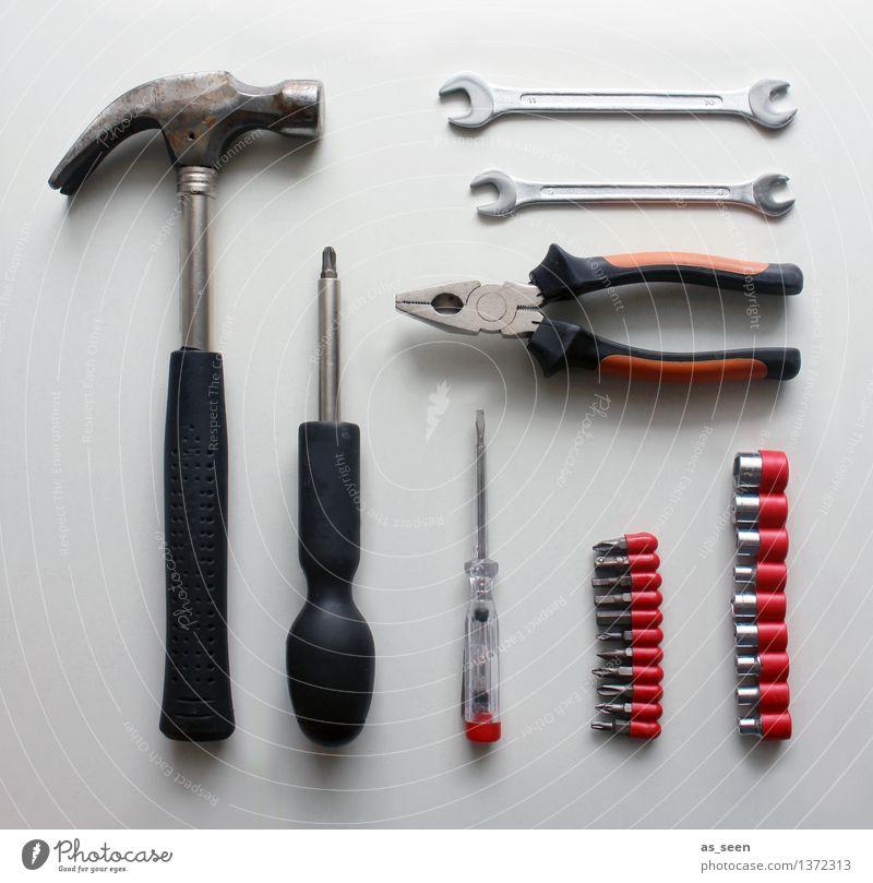 Werkzeugkiste rot schwarz Metall Arbeit & Erwerbstätigkeit Wohnung Freizeit & Hobby Ordnung Baustelle Kunststoff Handwerk Sammlung Stillleben eckig silber
