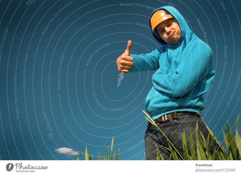 daumen hoch Helm Hongkong atmen Luft Wolken Schutzhelm Umweltschutz Umweltverschmutzung Wiese Gras Fischmaul Bart unrasiert Silhouette verrückt Humor lustig