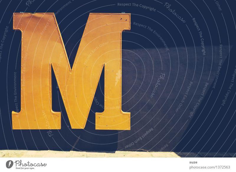 Großes Hmm schwarz gelb Wand Stil Mauer Metall Design Schilder & Markierungen authentisch Schriftzeichen groß retro einfach Zeichen Macht Buchstaben