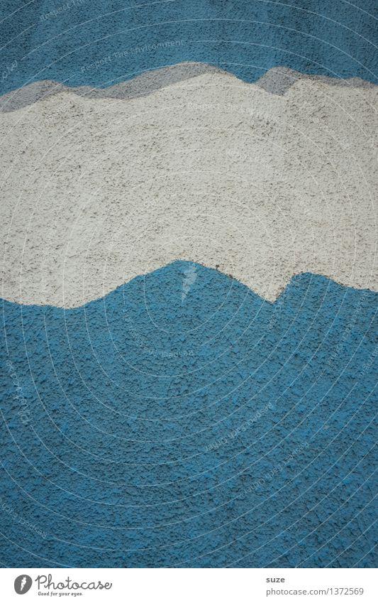 Wolkenband Design Kunst Himmel Wetter Mauer Wand Fassade Stein Beton Graffiti authentisch einfach trocken blau weiß Rätsel Vergangenheit Vergänglichkeit Putz