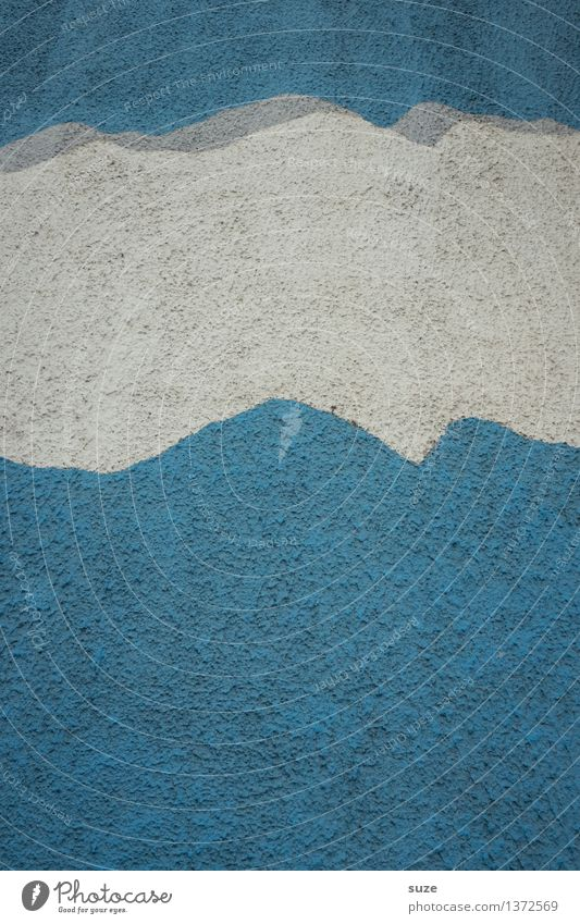 Wolkenband Himmel blau weiß Wand Graffiti Hintergrundbild Mauer Kunst Stein Fassade Design Wetter authentisch einfach Beton