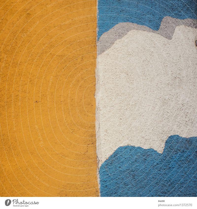 Sonne-Wolken-Mix Himmel blau weiß gelb Wand Graffiti Hintergrundbild Mauer Stein Fassade Design Wetter authentisch einfach