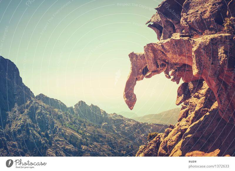 Da ist der Haken Himmel Natur Landschaft Einsamkeit Berge u. Gebirge Umwelt Wärme außergewöhnlich Stein Felsen wild Freizeit & Hobby wandern Ausflug fantastisch Europa