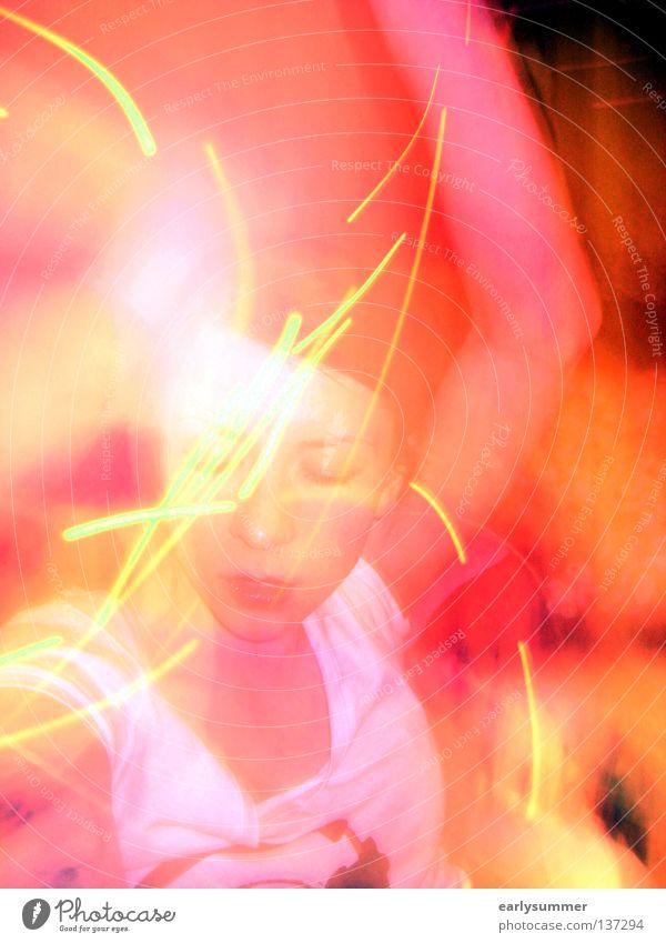 One night in Bangkok Frau Jugendliche schön rot Freude gelb dunkel Freiheit Bewegung Party Stil Musik Feste & Feiern orange Tanzen gehen